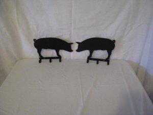 Pig Key Holder Metal Wall Art Silhouette 3 Hooks Set of (2)