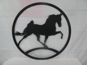 Walking Horse Silhouette Metal Wall Yard Art