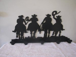 Cowboys Coat Rack Metal Western Wall Art Silhouette