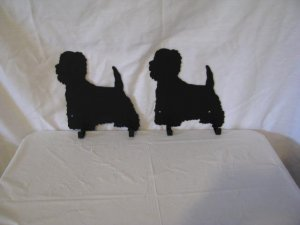 Westie 2 Hook Leash Holder Dog Metal Wall Art Silhouette Set of 2