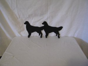 Golden Retriever 2 Hook Leash Holder Dog Metal Wall Art Silhouette
