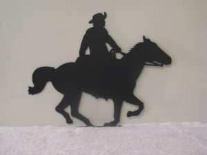 Horse and Cowboy Mail Box Topper Metal Western Wall Art Silhouette