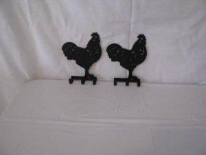 Rooster Key Holder Set (2) Metal Wall Art Silhouette