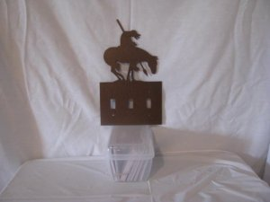 End of Trail Light Switch Cover Metal Wall Art Western Silhouette