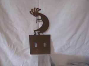 Kokopelli Light Switch Cover Set of (2) Metal Wall Art Silhouette