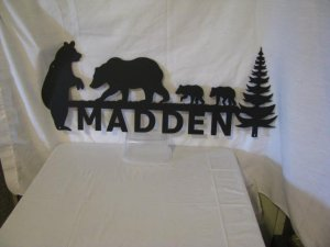 Custom Metal Sign Bear Family and Trees Wall Art Wildlife Silhouette