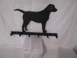 Dog Lab Silhouette Key/Leash Holder Metal Wall Art