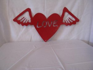 Valentine  Heart on Wings Metal Wall Art Silhouette Red