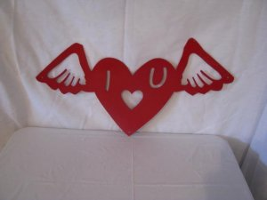 Valentine  Heart on Wings 002 Metal Wall Art  Silhouette Red