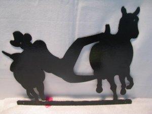 Bulldogging Metal Silhouette Western Wall Art