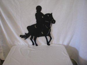 Girl on Show Pony Metal Wall Yard Art Horse Silhouette