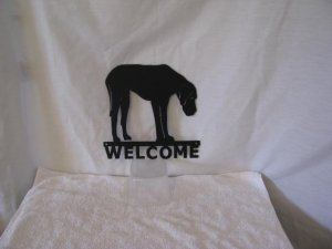 Great Dane Welcome Metal Dog Wall Yard Art Silhouette