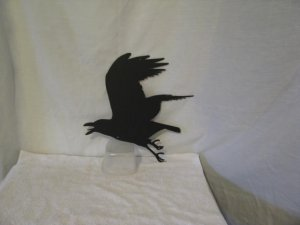 Flying Raven Crow Metal Wildlife Wall Yard Art Silhouette