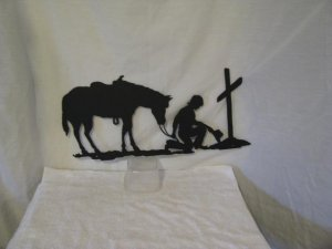 Praying Cowboy with Horse and Tall Cross Metal Western Wall Yard Art Silhouette