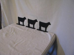 Metal Beef Calf Mailbox Topper Set of 3 Small Medium Large Farm Livestock Yard Art Silhouette
