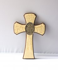 Vintage Looking Wooden Cross with Virgin Mary