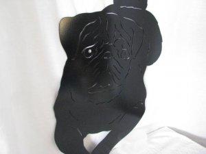 Pug 002 M Metal Wall Yard Art Dog Silhouette