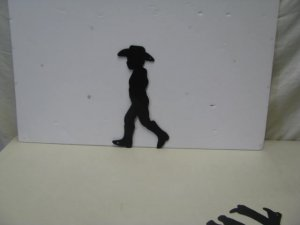 Cowboy Walking Western Metal Yard Art Silhouette