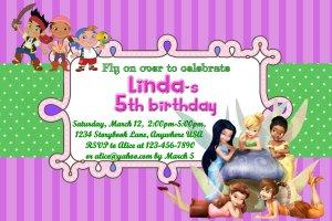Disney Fairies and Pirates Birthday Party Invitation - Digital File - Printable