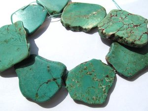 "wholesale  turquoise gemstone freeform slab green jewelry  beads 35-60mm--2strands 16""/per"