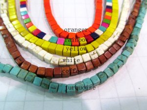 4mm full strand turquoise gemstone cubic brick square mixed  jewelry  beads