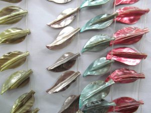 fashion lots 25-55mm 5strands natural shell gergous leaf  rainbow ring charm bead