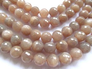 "wholesale 6strands 10mm  natural Moonstone gemstone round ball faceted oranger gray  loose beads jewelry 16""/per"