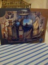Handmade Nautical Birthday Card: Antique Bottles, Wooden Ship, Ocean Shells,  Starfish, Best Wishes , Brown , Blue card