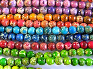 high quality 10mm 5strands 16inch, round ball  snakeskin multicolor mixed sea sediment veins imperial jasper jewelry beads --by expres ship
