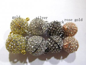 top quality 14mm 50pcs  round margnetic clasp silver rose gold antique black assortment & rhinestone connectors