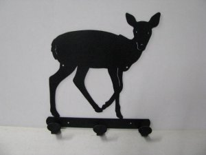 Deer 064 Standing 3 Hook Coat Rack Metal Art