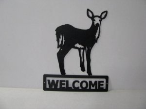 Deer 065 Standing Welcome Sign Wildlife Metal Art