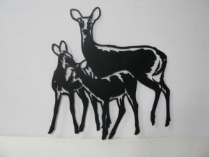 Deer 075 Large Family Standing Wildlife Metal Art Silhouette