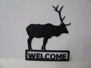 Elk 001A Standing Welcome Sign Silhouette