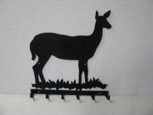 Deer Doe 003 6 Hook Key Holder Silhouette