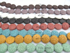 lots 16-25mm 5strands lava volcanic gems high quality disc roundelle black white yellow red green mixed jewelry beads
