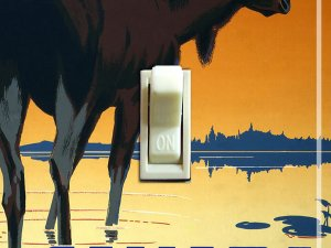 MOOSE in Sunset Vintage Poster Switch Plate (single)