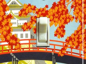 JAPANESE PAGODA Vintage Travel Poster Switch Plate (single)