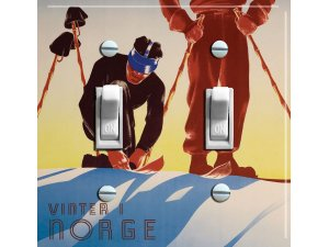 NORGE (Norway) Vintage Ski Poster Switch Plate (double)