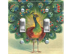 PEACOCK Vintage Art Switch Plate (double)