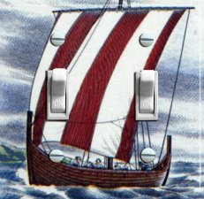 VIKING Ship Vintage Travel Poster Switch Plate (double)