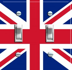 BRITISH Union Jack Flag Switch Plate (double)