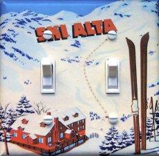SKI ALTA vintage ski poster Switch Plate (double)