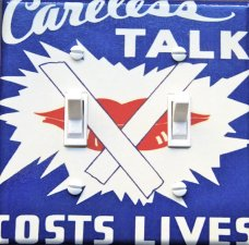 CARELESS TALK Vintage War Poster Switch Plate (double)