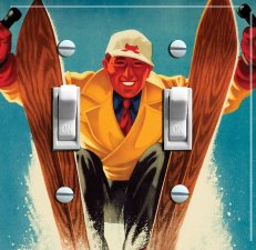 SKI GUY vintage ski poster Switch Plate (double)