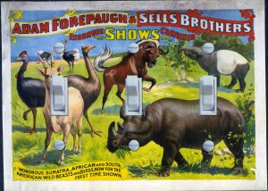 Vintage Circus Poster - Adam Forepaugh & Sell Bros. (triple)