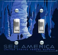 CAVES vintage travel poster Switch Plate (double)