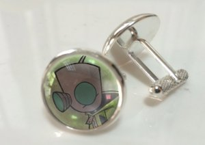 Invader Zim Pair Glass Crystal Cufflinks