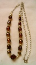 """Foil Lined Glass Bead Necklace W/ Pearlized Spacer Beads, Silver Tone Chain 19"""""""