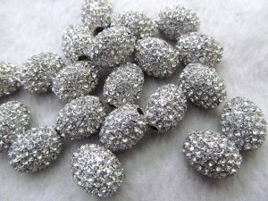 50pcs 8-20mm Pave Micro Rhinestone Brass  Crystal Connector ,silver Rice Drum Hematite Gunmetal silver gold mix Finding
